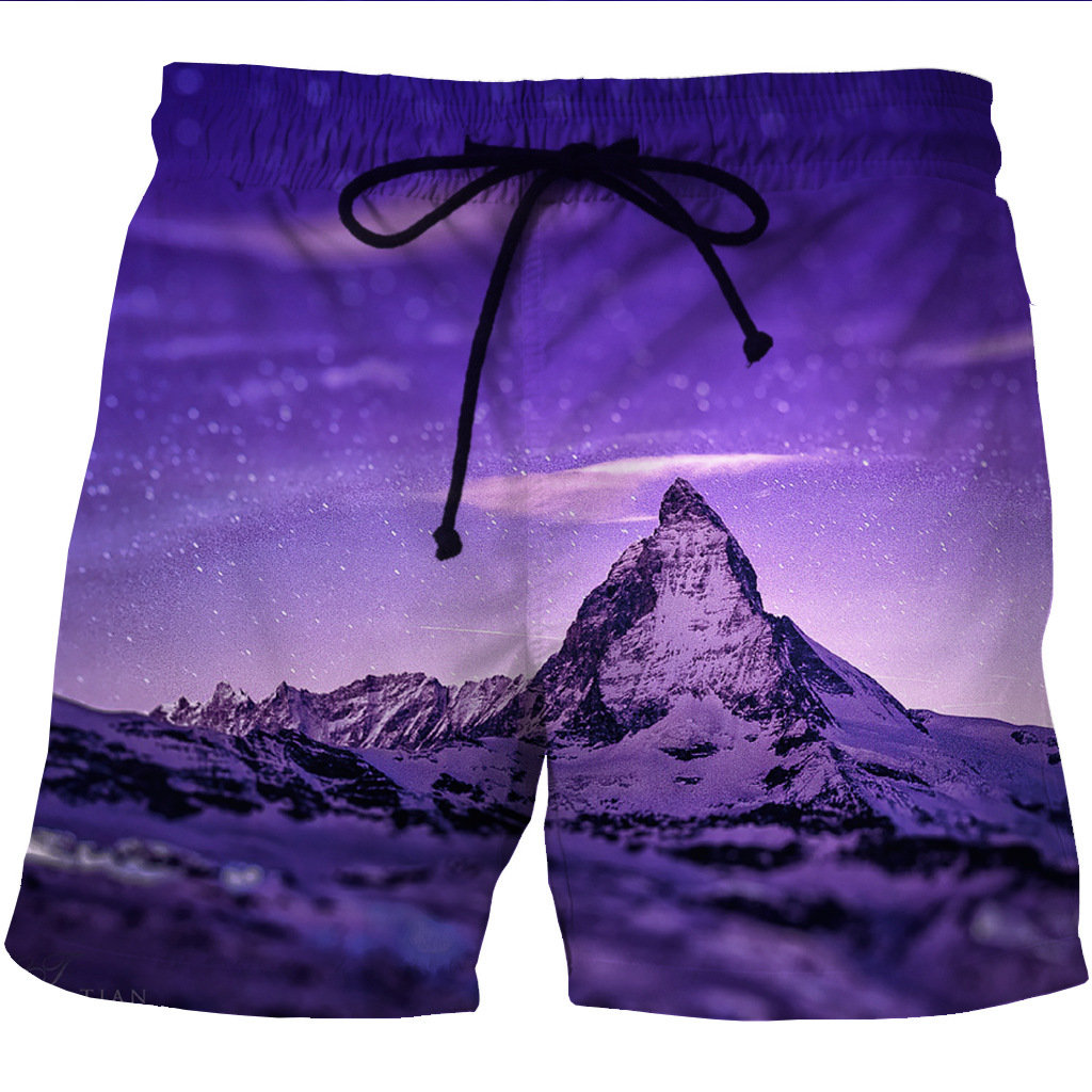 New European And American Men's Quick Dry Shore Shorts 3D Creative Side Pocket Printed Leisure Shorts