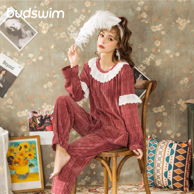 Women's Sleepwear Palace pajamas suit Gold Velvet Warm home service autumn and winter thickening pajamas sets top+pants 2 Piece