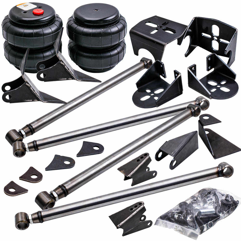 Weld On Parallel 4 Link Suspension Level lift kit Heavy Duty Steel Bar & Mounts Bracket 2500 Bag Air Ride Suspension 2.75'' axle