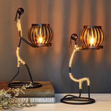 Candlestick Figurines Iron-Art-Decor Wedding-Dining Nordic for Sculpture Character Handmade