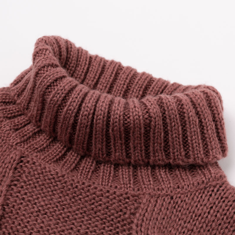 Turtleneck Knitted Long Sleeve Mohair Sweater