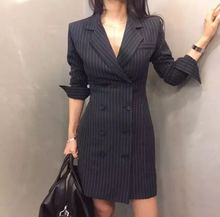 Autumn Womens Long Sleeve Blazer Jackets Office Lady Striped Slim Double Breasted V-Neck