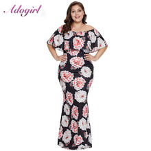 Plus size S-5XL Casual Floral Print Boho Long Dress Women Summer Sexy Off Shoulder Ruffled Neck Party Club Dresses Lady Vestidos