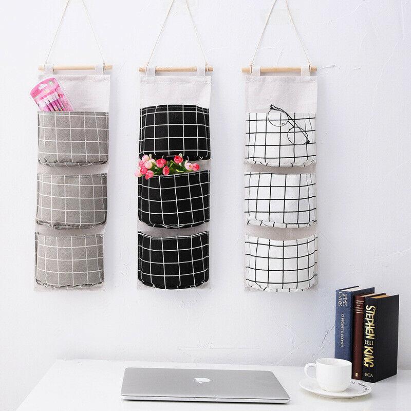Cotton Linen Hanging Organizer 3 Pockets Multilayer Fashion Wall Door Hanging Storage Bag Cloth Toy Key Storage Bags Home Decor