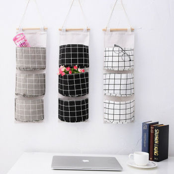 Cotton Linen Hanging Organizer 3 Pockets Multilayer Fashion Wall Door Hanging Storage Bag Cloth Toy Key Storage Bags Home Decor fulllove 12 pockets 32 72cm linen storage bag number print navy hanging organizer for cosmetic books home storage