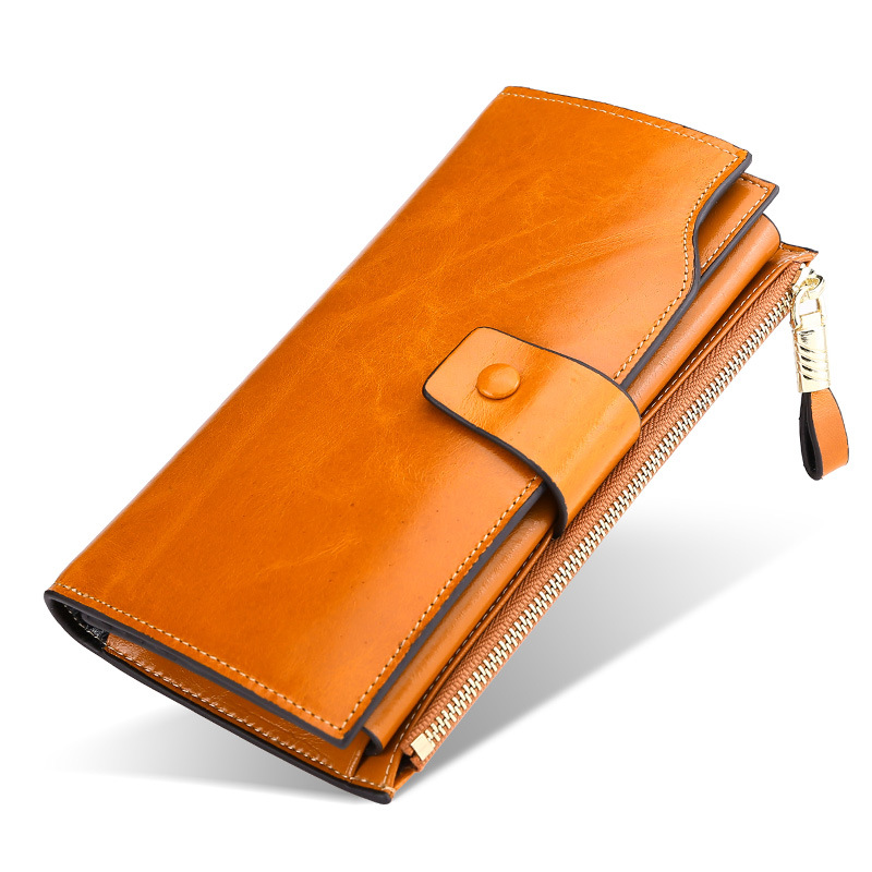 KEVIN YUN Vintage Luxury Women Wallets Genuine Leather Long Zipper Clutch Purse Large Capacity Card Holder Wallet