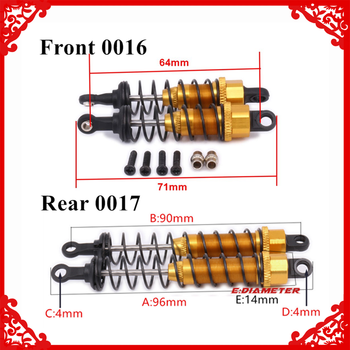 Alloy 96mm Front & Rear Shock Absorber Oil Filled Damper For Rc Model Car 1-12 Wltoy 12428 12423 0016 0017 Truck Short parts image