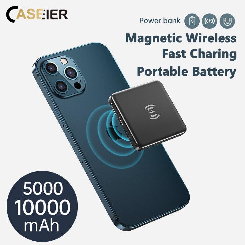 Caseier magnético sem fio power bank para iphone 12 pro mini max portátil móvel bateria externa powerbank carregador rápido