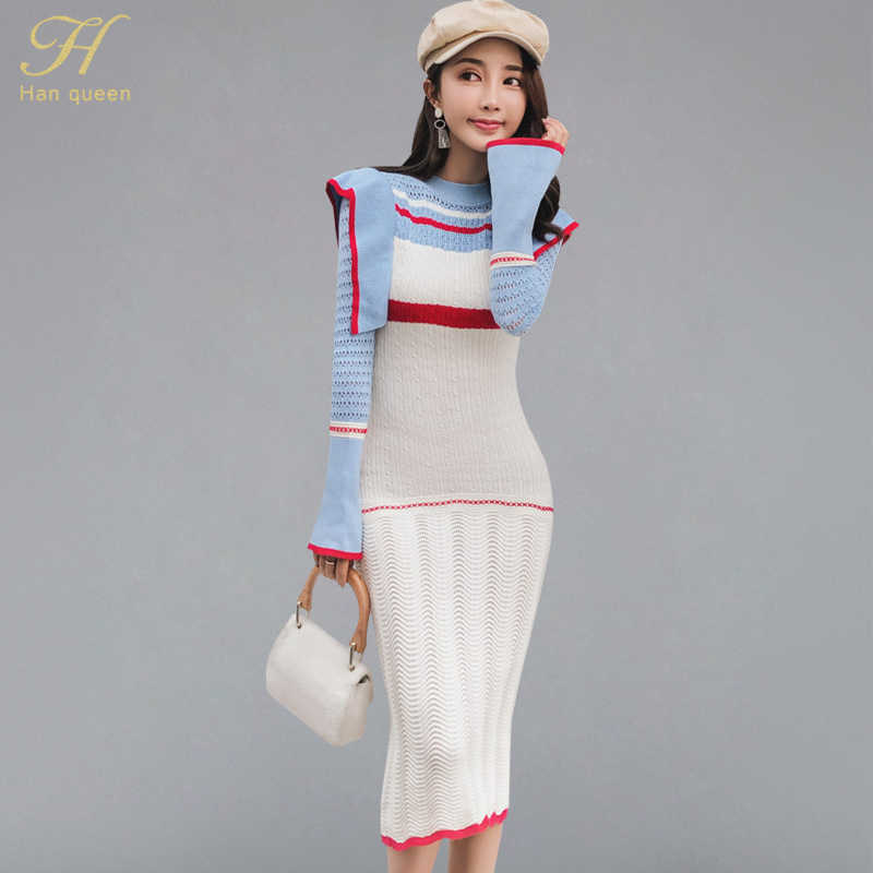 H Han Queen Women 2019 Winter Contrast Color Knitted Dress Women Ruffles Fitted Stretch Bodycon Dresses Casual OL Retro Vestidos