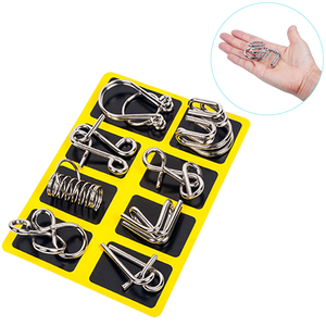 Image 1 - 8 sztuk/zestaw Metal Montessori Puzzle drut IQ umysł łamigłówka Puzzle dzieci dorośli interaktywna gra Reliever edukacyjne zabawki
