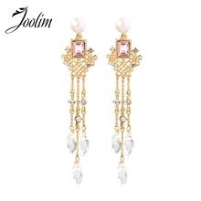 Joolim Long Tassel Drop Earring Party French Wholesale for Women
