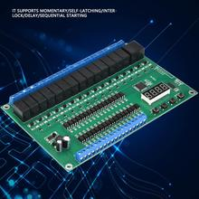 DC 5/12/24V FGDEYUHJU 16-channel Relay Control Module Digit Display PLC/Self-latching/Interlock/Momentary ON/OFF Household relay
