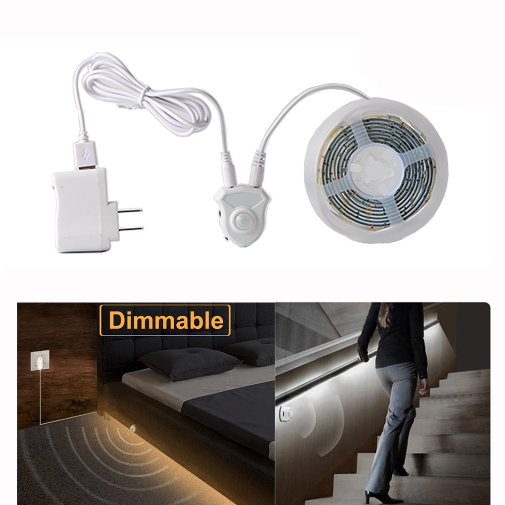 1M LED Home Neon Strip Under Bed Light Activated Motion Sensor Plug Warm White