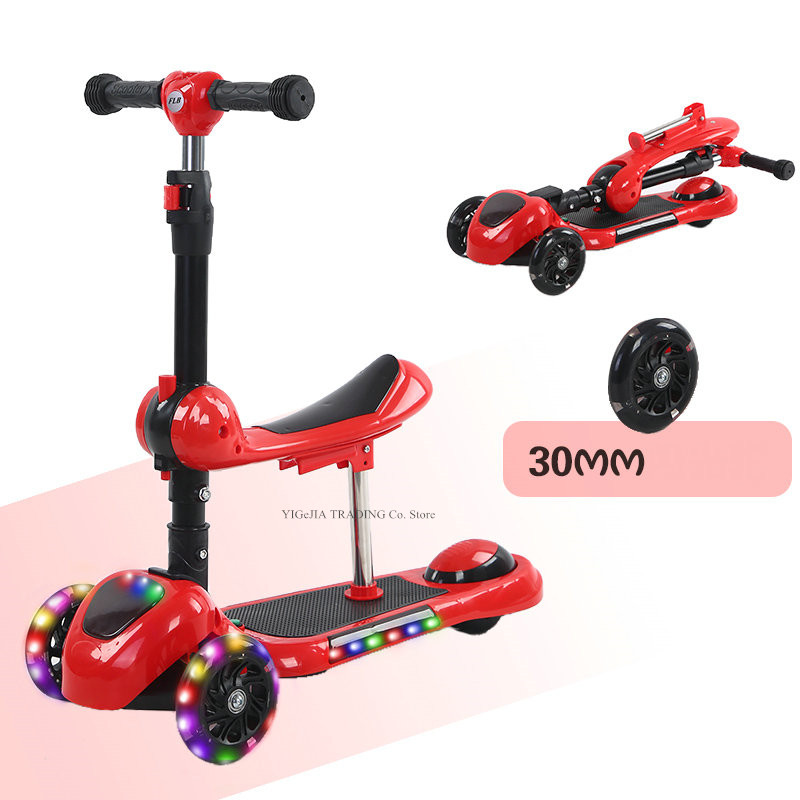 3 In 1 Foldable Children's Scooter With 3 Grade Adjust Height, 3-wheeled Kiddie Kick Scooter With Removable Seat And PU Wheel
