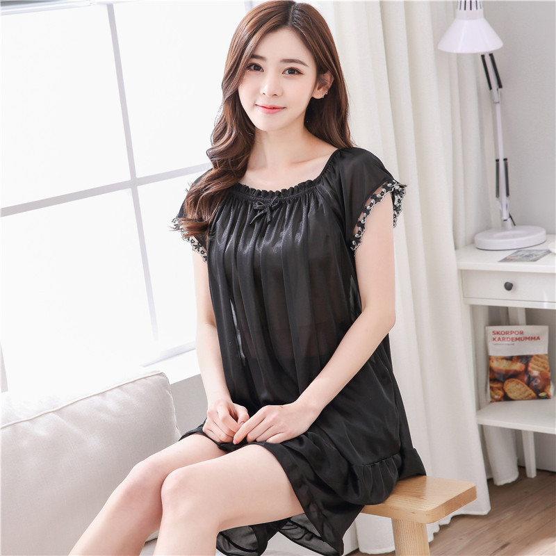 Pajamas Women's Summer-Short Sleeve Set Two-Piece Set Summer Korean-style Thin Ice Silk Tracksuit Cute Large Size