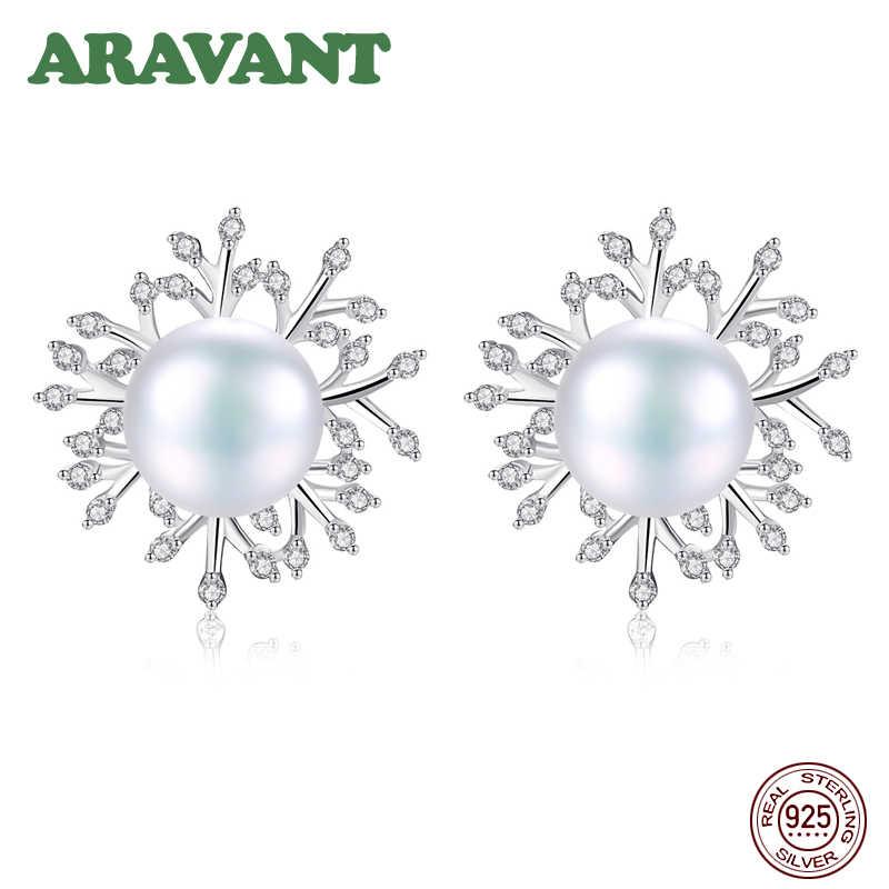 Boucles d'oreilles en perles d'eau douce blanches 925 en argent Sterling Zircon clair flocon de neige boucles d'oreilles pour femmes filles cadeaux de bijoux de fête