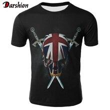 Retro Skull T Shirt Men Black Anime Tshirt United Kingdom Gothic 3d Print T-shirt Punk Rock Clothes Casual Hip Hop Mens Clothing цены