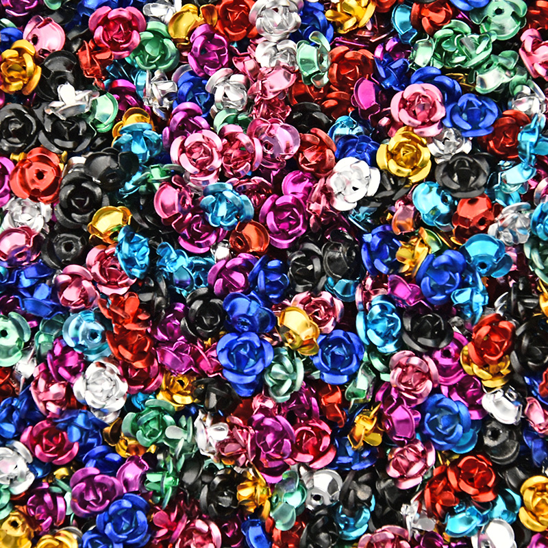 200 Pcs 6mm Assorted Aluminum Rose Cabochons For Nail Art Tiny Rose Flower Color Splattered Cabochon Flat-back Embellishment S