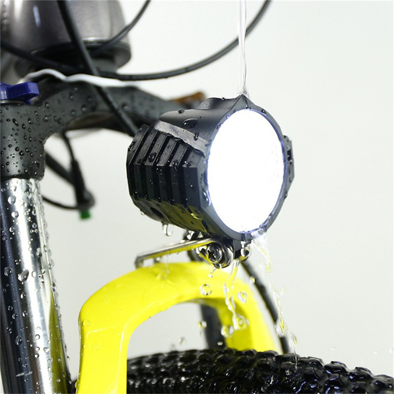 New Electric Bicycle Lights LED Bicycle Headlight 12W 12V-80V Waterproof Bike Front Light Flashlight 4 Lights With Horn For Bike