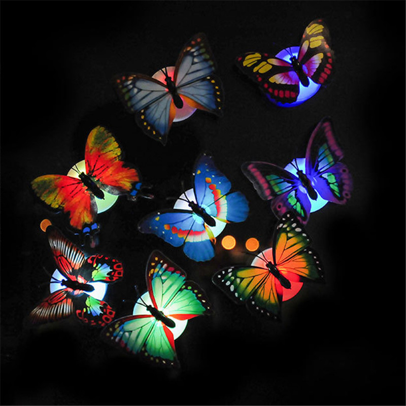 10pcs/lot Colorful Changing Butterfly LED Night Light Lamp Butterfly LED Wall Stickers Home Room Party Desk Wall Decor Lights
