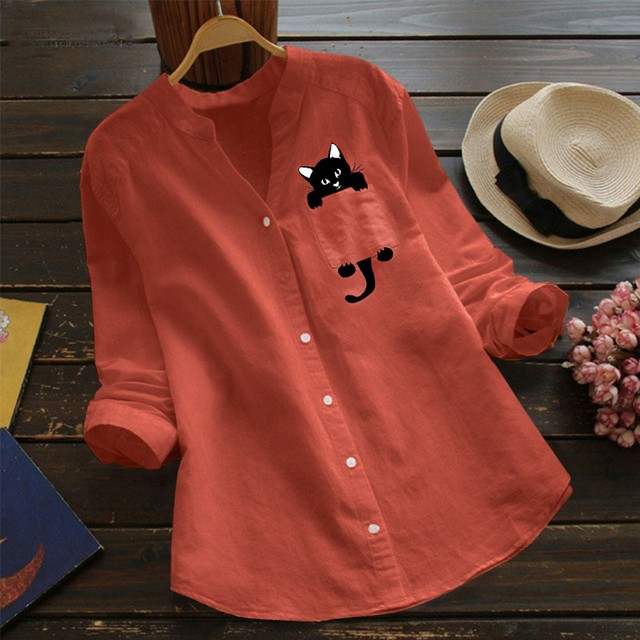 Linen Casual Cute Cat Print Blouse