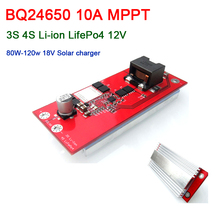 BQ24650 10A MPPT Solar Controller 12V 12.6V 3S 4S Li ion LifePo4 lithium Battery Charging Board Cell FOR 18v Solar charger