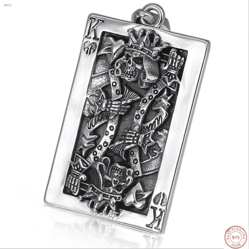 S925 pure silver Creative personality Poker K Pendant Tag Hip hop Thai Silver Skull Pendant for men