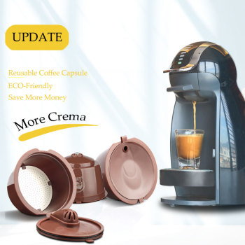 3rd Crema Version Coffee Capsule for Nescafe Dolce Gusto Reusable Refillable Coffee Filter Steel Mesh Espresso Cup Pod Tamper