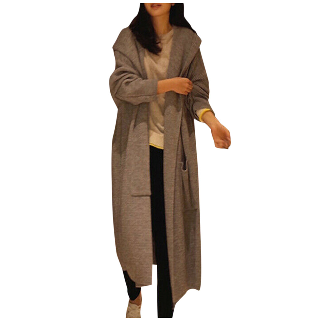 Sweater Outwear Cardigan Trench-Coat Oversize Womens Autumn Casual New Knit Solid -Bl2 title=