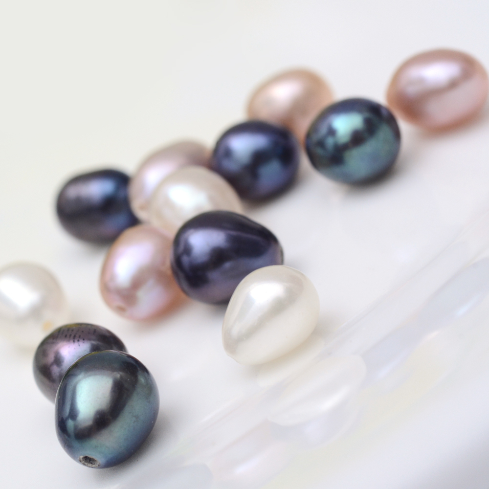 50 pc Mixed Color Rice Shape Natural Cultured Freshwater Pearl Beads Half Drilled Bead 6~7mm for jewelry making DIY Accessories