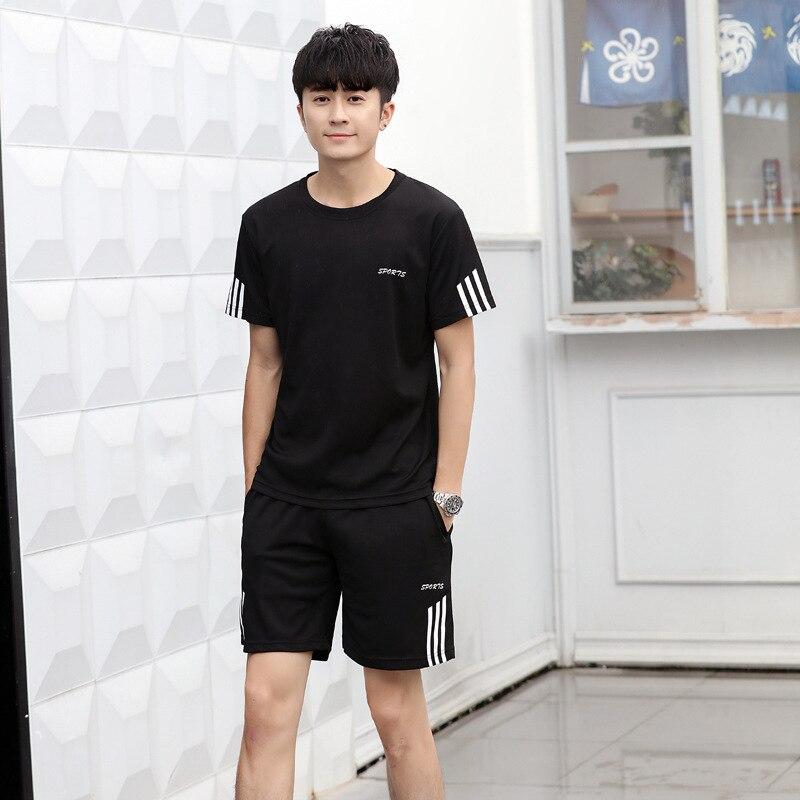 2019 Summer Sports Set MEN'S Short-sleeved T-shirt Casual Shorts Two-Piece Set Morning Run Casual Running-Style Fashion Man