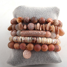 Fashion Jewelry Beautiful Druzy Chip Bracelet Set Natural Stone Magnetic CZ Ball Bracelets(China)