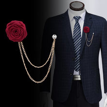 1pcs Groom while 郎 wedding wedding brooches fabric hand rose brooch chain tassel male suit deserve to act the role of badge(China)