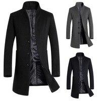 Осень-зима Для мужчин, длинное однотонное Цвет пальто узкого кроя Шерстяное пальто куртка из искусственной кожи PU ветровка куртка мода высо...