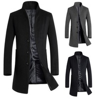 Autumn and Winter Men's Long Solid Color Slim Coat Wool Coat Coat Windbreaker Jacket Fashion High Quality Windbreaker Jacket