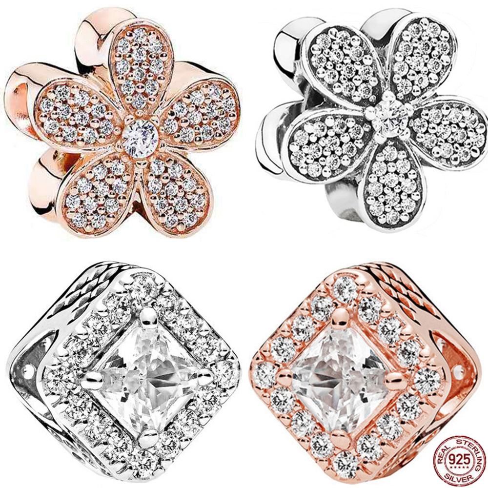 New 925 Silver Shine CZ Flower Rose Gold Square <font><b>Charms</b></font> Beads Fit Reflexions <font><b>Bracelet</b></font> For Women <font><b>PAN</b></font> Jewelry image