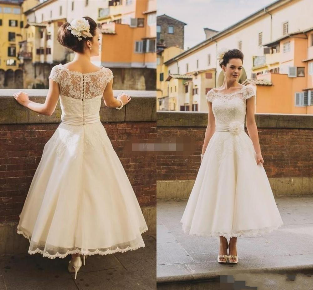 2020 50s Style Retro Vintage Wedding Dresses Illusion Neck Cap Sleeves Lace Beads Buttons  Tea Length Sash Bridal Dress