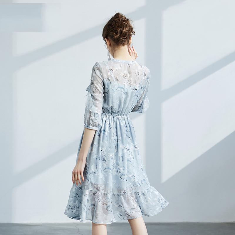 Brand WOMEN'S Dress 2019 Autumn New Style Flounced Chiffon Skirt Ladies' Fresh Printing Half-sleeve Shirt Dress 68059