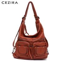 CEZIRA Large Soft Casual Women Bags Functional Girl School Backpack PU Leather Bag Ladies Multi Pockets Messenger&Shoulder Bag