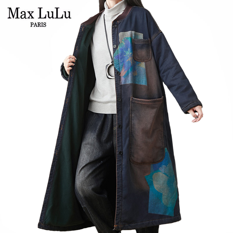 Max LuLu Winter Ladies Chinese Denim Thicken Trench Coats Womens Warm Long Fur Windbreakers Vintage Printed Oversized Clothing