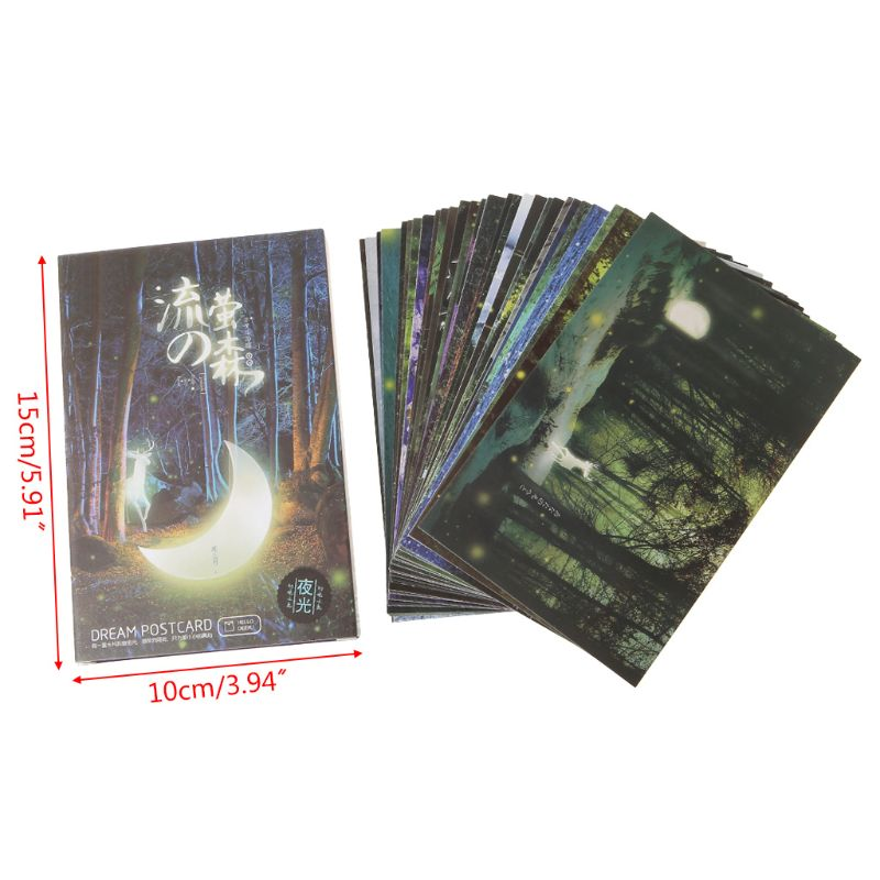 30pcs Vintage Luminous Postcard Glow In The Dark Forest Streamer Animal Greeting Post Card Novelty Xmas Greeting Cards Gift LX9A