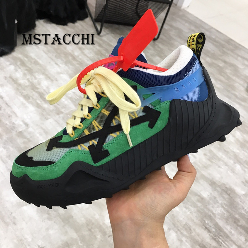 MStacchi 2020 Fashion Cool Men Genuine Leather Sneakers Comfortable Mesh Breathable Colour Mixture Lace-Up Walking Lovers Shoes