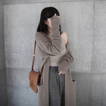 Ailegogo New 2020 Autumn Winter Women's Sweaters Korean Style Fashionable Minimalist Solid Color Casual Long Cardigans SWC8133 2