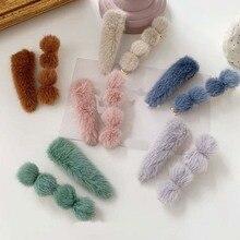 Hair Clips Korea Fur Pom Ball Water Drop Hairpins Sets Girls Barrettes Hairgrips Winter New Women Accessories