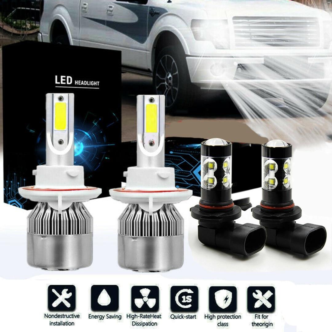 2pcs H13 9008 + 2pcs 9005 HB3 9145 H10 8000K LED Headlight Hi/Lo 4 Bulbs Combo Fog Light For Ford F-150 2004-2014 Accessories