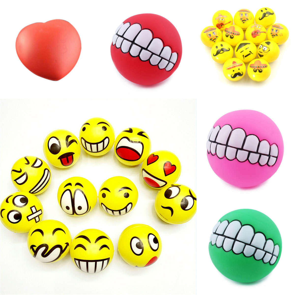 1 Pcs Smile Face Print Sponge Foam Squeeze Stress Ball Relief Yoga Gym Fitness Toy Hand Wrist Exercise PU Rubber Toy Balls
