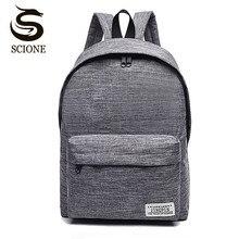 Scione Корейский простой холщовый рюкзак мужской/женский школьный рюкзак для ноутбука для подростков, дорожный рюкзак, рюкзак Stachels, рюкзак Mochila
