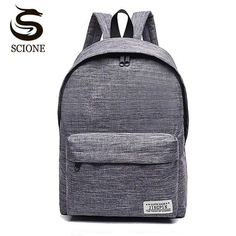 Scione холщовый мужской рюкзак мужской/женский школьный рюкзак для ноутбука для подростков дорожный рюкзак Mochila