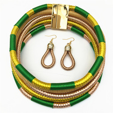 Liffly African Necklace Earrings Sets Multi-layer Woven Jewelry Bridal Wedding Party Choker for Women