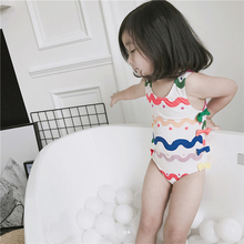 New Model 2-12 Y Girls one piece Swimsuit Baby bathing suit with White & Colorful Wavy kids Swimwear Swimming Cap